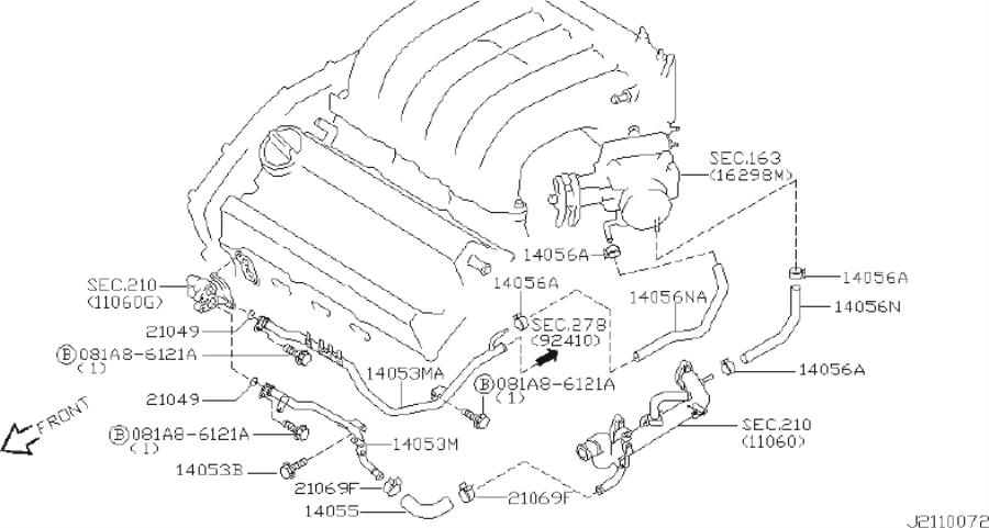 Infiniti I35 Engine Coolant Hose