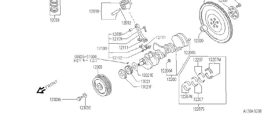 Infiniti J30 Engine Crankshaft Main Bearing  Illustration