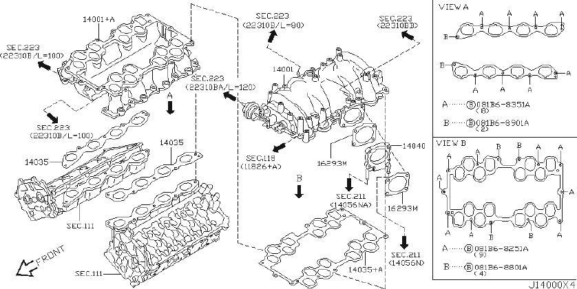 INFINITI Q45 Adapter Intake. ENGINE, COVER, EXHAUST ...