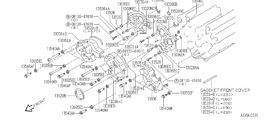 Infiniti J30 Engine Timing Cover Gasket  Front   Fitting