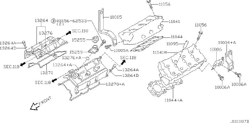 Infiniti Qx4 Engine Valve Cover  Component  Assembly