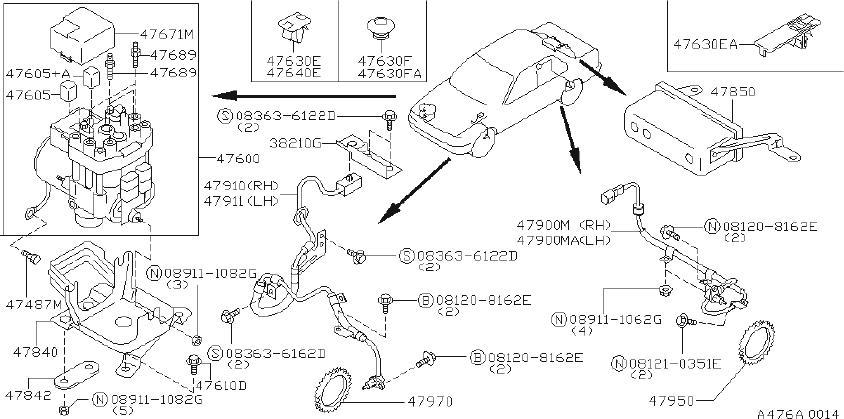 Infiniti G20 Abs Wheel Speed Sensor  Right  Front   Anti  Cal  Fed
