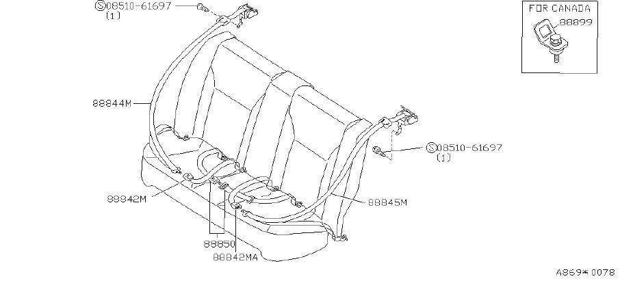 infiniti g20 belt seat buckle   rear