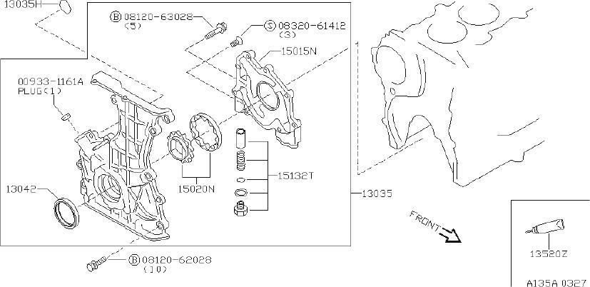 Infiniti G20 Engine Crankshaft Seal  Front