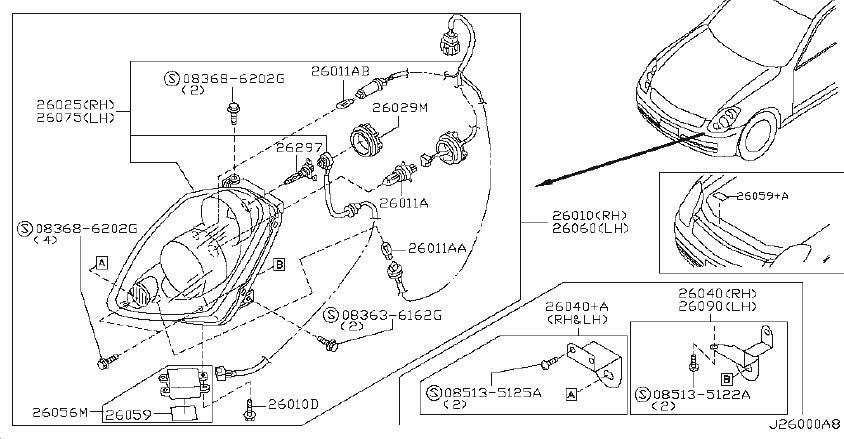 Infiniti G35 Headlight  Right   Xenon