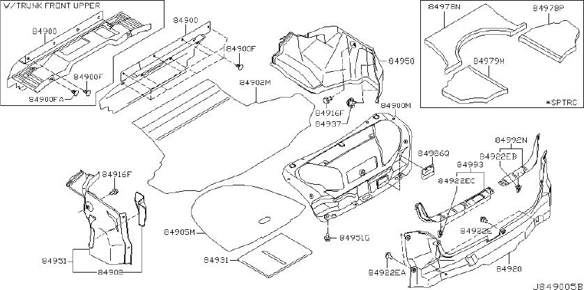INFINITI G35 Trunk Trim Panel (Right, Rear) - 84950-AC700 ...