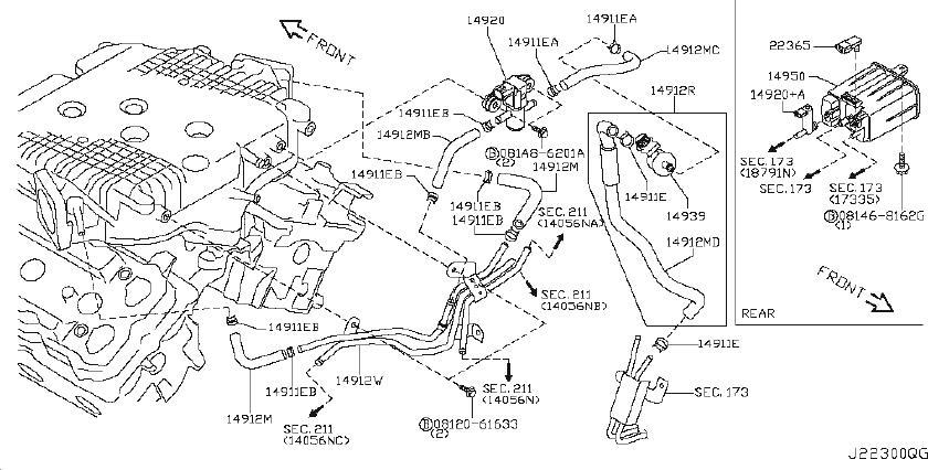 Infiniti G35 Hose Evaporator Contour  Hose Fuel Evaporation Control