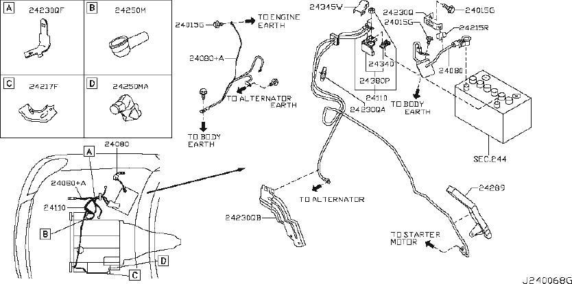 Infiniti M35 Srs Product  Harness Tail  Body  Battery